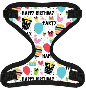 Happy Birthday Canvas and Mesh Pet Harness XL